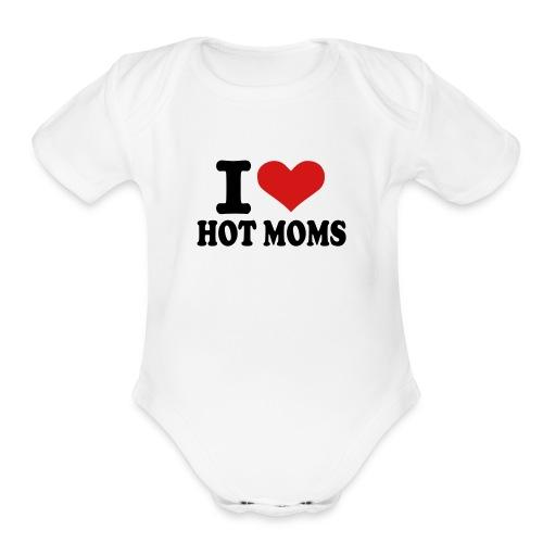 Hot Moms White - Organic Short Sleeve Baby Bodysuit
