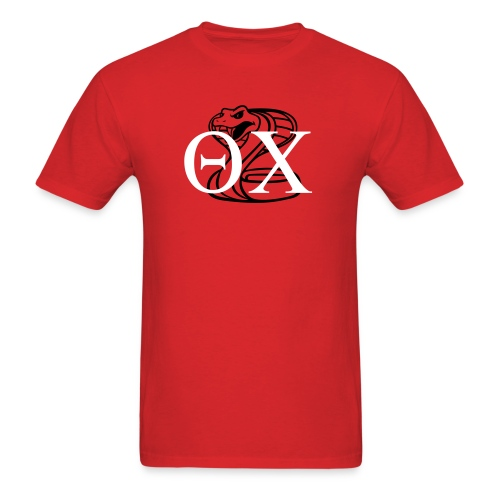red and white on black - Men's T-Shirt