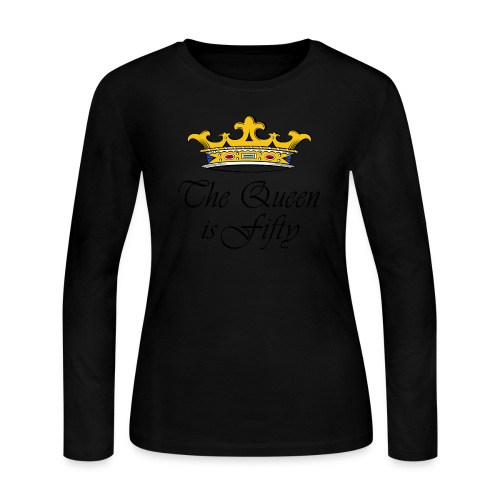 50th birthday gift, The queen is fifty crown! - Women's Long Sleeve Jersey T-Shirt