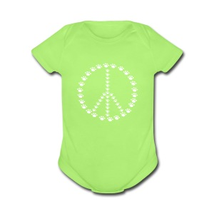 Peace for Paws One size - Short Sleeve Baby Bodysuit