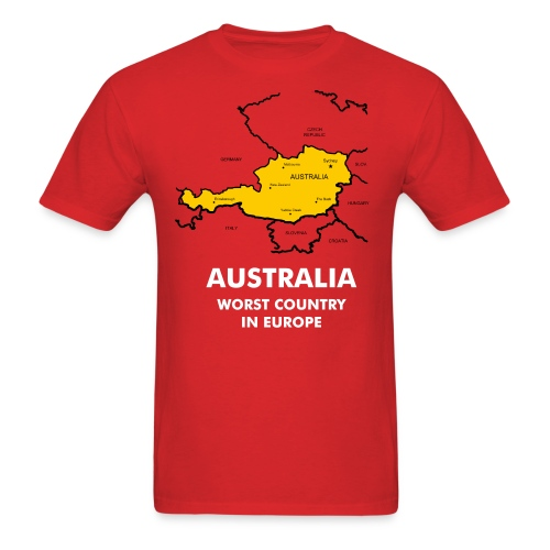 Australia Worst Country in Europe Red T Shirt - Men's T-Shirt