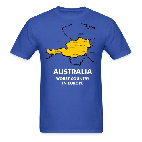 Australia Worst Country in Europe Blue T Shirt - Men's T-Shirt