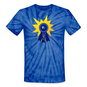 Blue Ribbon Dad with a splash - Unisex Tie Dye T-Shirt
