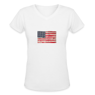 T-Shirts ~ Women's V-Neck T-Shirt ~ American Vintage flag V-Neck Tee