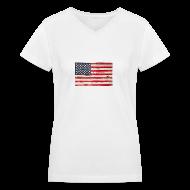 T-Shirts ~ Women's V-Neck T-Shirt ~ American Vintage flag V-Neck Tee