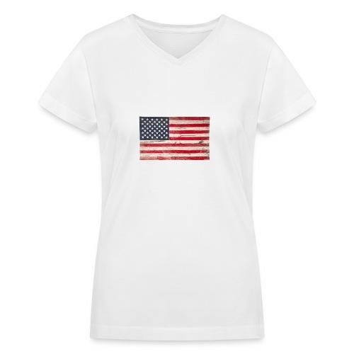 American Vintage flag V-Neck Tee - Women's V-Neck T-Shirt