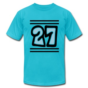 WUBT 'Funky Football 27' Men's AA Tee, Turquoise - Men's T-Shirt by American Apparel
