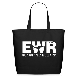 Newark Airport Code EWR Solid Tote Bag Black - Eco-Friendly Cotton Tote