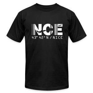 Nice France Airport Code NCE Men's T-shirt Black - Men's T-Shirt by American Apparel