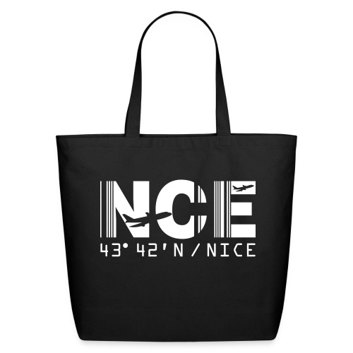 Nice France Airport Code NCE Tote Bag Black - Eco-Friendly Cotton Tote