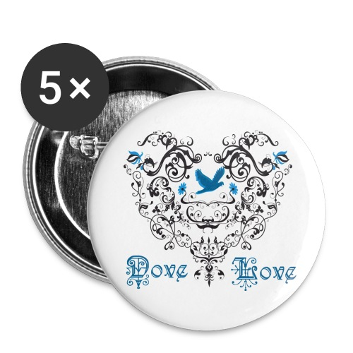 Button-Heart Dove Love - Large Buttons