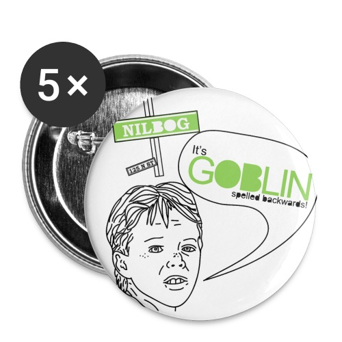 Goblin spelled Backwards Buttons - Buttons small 1'' (5-pack)