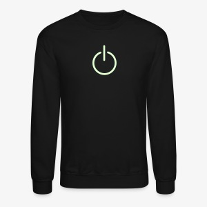 YellowIbis.com 'Computer Symbols' Men's / Unisex Longsleeved Sweatshirt: Power Button (Black / Glow in the Dark) - Crewneck Sweatshirt