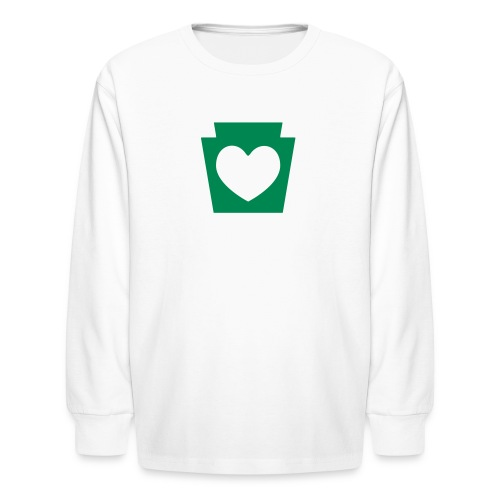 PA Keystone w/Heart - Kids' Long Sleeve T-Shirt