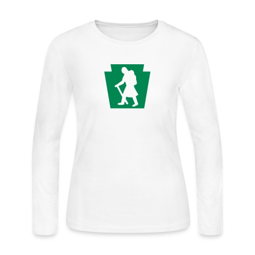 PA Keystone w/Female Hiker - Women's Long Sleeve Jersey T-Shirt