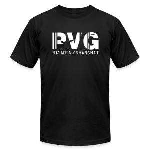 Shanghai China Airport Code PVG Men's T-shirt Black - Men's Fine Jersey T-Shirt