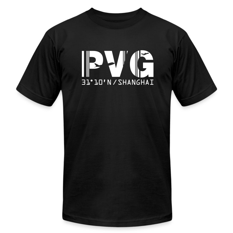 Shanghai China Airport Code PVG Men's T-shirt Black - Men's Fine Jersey T-Shirt