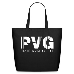 Shanghai China Airport Code PVG Tote / Beach Bag Black - Eco-Friendly Cotton Tote