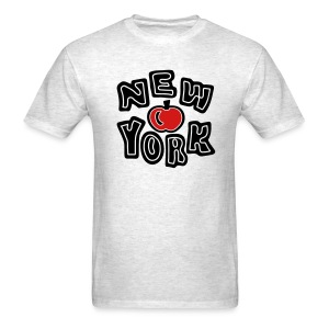 WUBT 'NY Cut Out With Apple' Men's Standard Tee, Ash - Men's T-Shirt