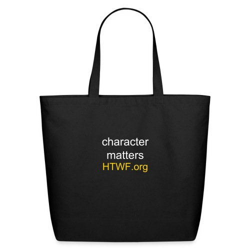 Black Tote Bag with Character Matters and HTWF.org Web Address - Eco-Friendly Cotton Tote