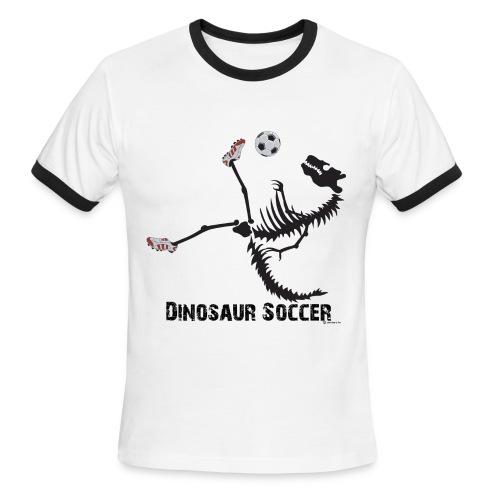 Dino Soccer Black-print Ringer - Men's Ringer T-Shirt