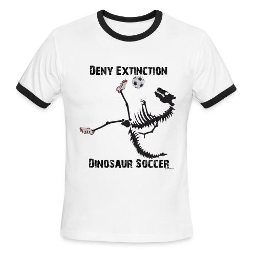 Dino Soccer Deny Black-print Ringer - Men's Ringer T-Shirt