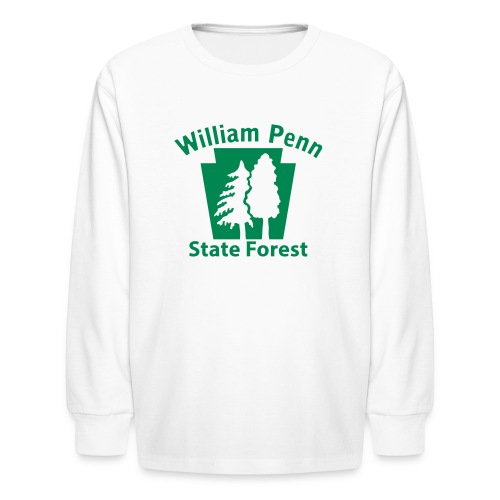 William Penn State Forest Keystone w/trees - Kids' Long Sleeve T-Shirt