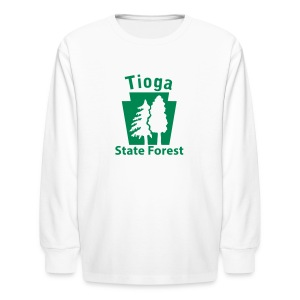 Tioga State Forest Keystone w/trees - Kids' Long Sleeve T-Shirt