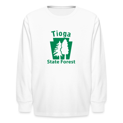 Tioga State Forest Keystone w/trees - Kids' Long Sleeve T-Shirt