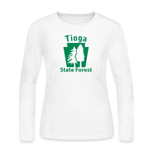 Tioga State Forest Keystone w/trees - Women's Long Sleeve Jersey T-Shirt