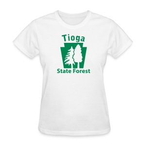 Tioga State Forest Keystone w/trees - Women's T-Shirt