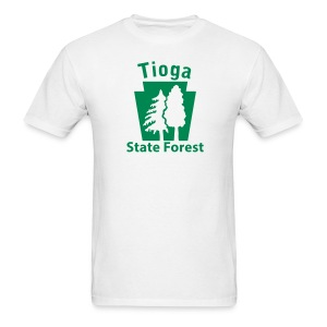 Tioga State Forest Keystone w/trees - Men's T-Shirt
