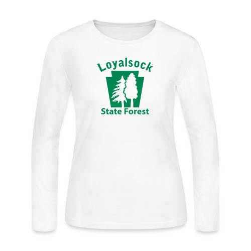 Loyalsock State Forest Keystone w/Trees - Women's Long Sleeve Jersey T-Shirt