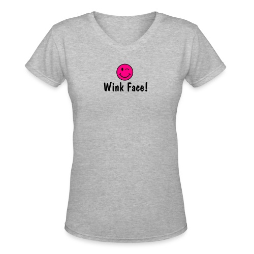 Wink Face - Women's V-Neck T-Shirt