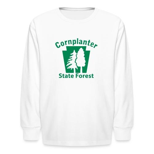 Cornplanter State Forest Keystone w/Trees - Kids' Long Sleeve T-Shirt