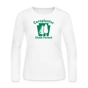 Cornplanter State Forest Keystone w/Trees - Women's Long Sleeve Jersey T-Shirt