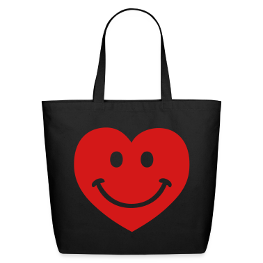 Black heart smiley Bags