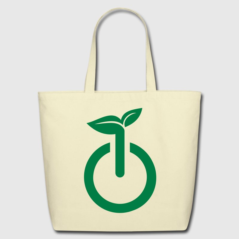 Creme green power going green logo Bags  - Eco-Friendly Cotton Tote