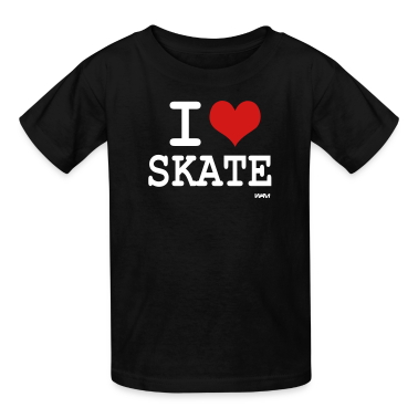 Black i love skate by wam Kids' Shirts