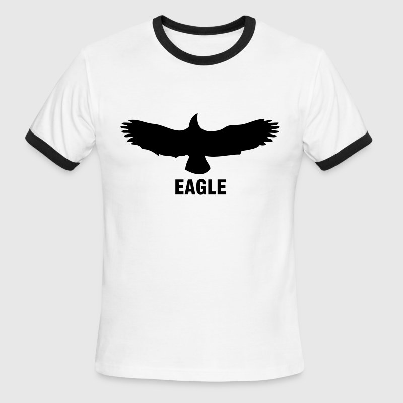White/black Custom Eagle Logo T-Shirts - Men's Ringer T-Shirt