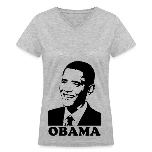 ObAma Grey - Women's V-Neck T-Shirt