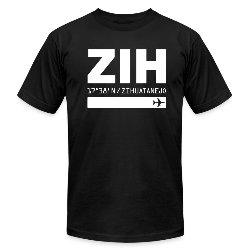 Zihuatanejo Mexico Airport Code ZIH black men's t-shirt solid design - Men's T-Shirt by American Apparel