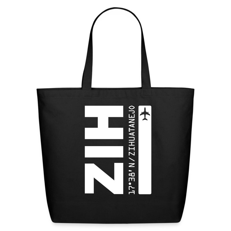 Zihuatanejo Mexico Airport Code ZIH black beach/tote bag solid design - Eco-Friendly Cotton Tote