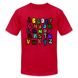 WUBT 'Alphabet Multi-Colored Patterns-DIGITAL DIRECT' Men's AA Tee, Aqua - Men's T-Shirt by American Apparel