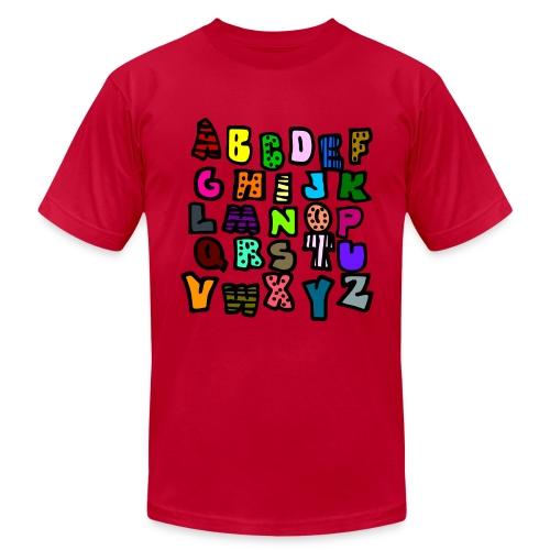 WUBT 'Alphabet Multi-Colored Patterns-DIGITAL DIRECT' Men's AA Tee, Aqua - Men's  Jersey T-Shirt