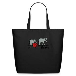 Big Love elephants family - Eco-Friendly Cotton Tote
