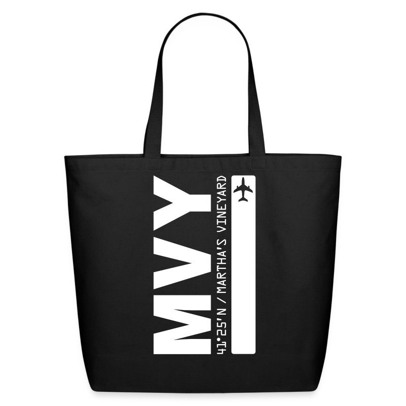 Martha's Vineyard airport code MVY tote beach bag black solid design - Eco-Friendly Cotton Tote