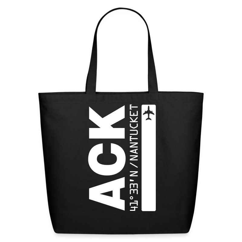 Nantucket airport code ACK tote beach bag black solid design - Eco-Friendly Cotton Tote