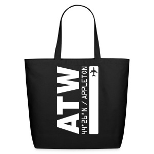 Appleton Wisconsin airport code ATW tote / beach bag black solid design - Eco-Friendly Cotton Tote
