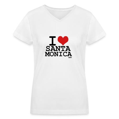 I Love Santa Monica - Women's V-Neck T-Shirt